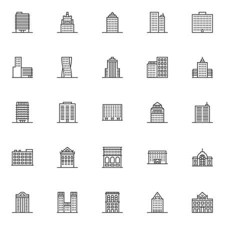 City buildings architecture line icons set. linear style symbols collection, outline signs pack. vector graphics. Set includes icons as office building, apartment house, municipal library, hotel, home Vektorové ilustrace