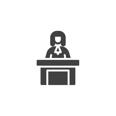 Judge sitting at the table vector icon. filled flat sign for mobile concept and web design. Judge man court worker glyph icon. Justice and law symbol, logo illustration. Vector graphics