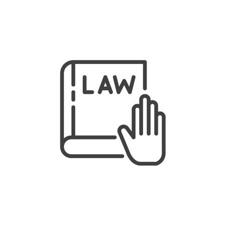 Hand on Law book line icon. Swearing on book linear style sign for mobile concept and web design. Oath on law book outline vector icon. Symbol, logo illustration. Vector graphics