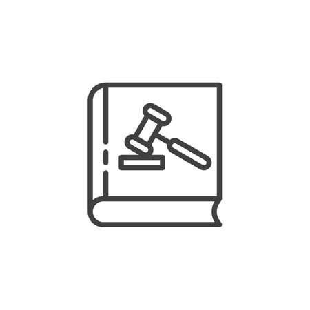 Cover Law book line icon. linear style sign for mobile concept and web design. Book with Gavel outline vector icon. Law and justice symbol, logo illustration. Vector graphics