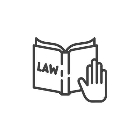Hand and Law book line icon. linear style sign for mobile concept and web design. Truth, oath on constitution book outline vector icon. Law and Justice symbol, logo illustration. Vector graphics