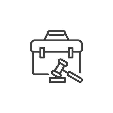 Judge gavel and briefcase line icon. linear style sign for mobile concept and web design. Law gavel and attorney briefcase outline vector icon. Symbol, logo illustration. Vector graphics Illustration