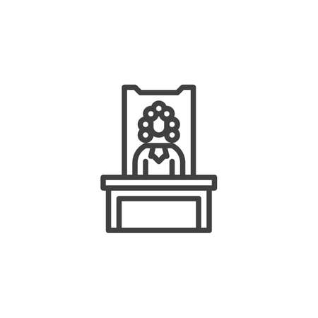 Judge in a courtroom line icon. linear style sign for mobile concept and web design. Judge sitting at the table outline vector icon. Justice and law symbol, logo illustration. Vector graphics