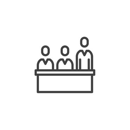 Jury trial line icon. linear style sign for mobile concept and web design. Jurors in a jury box at a court trial outline vector icon. Symbol, logo illustration. Vector graphics