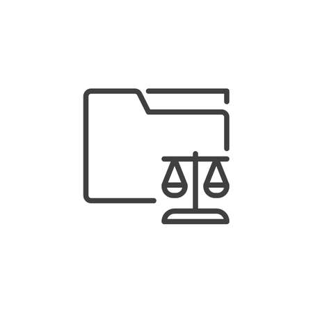 Legal document folder line icon. linear style sign for mobile concept and web design. Law folder with justice scales outline vector icon. Symbol, logo illustration. Vector graphics