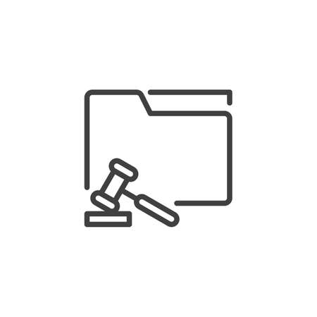 Court folder with judge gavel line icon. linear style sign for mobile concept and web design. Legal document folder outline vector icon. Symbol, logo illustration. Vector graphics Illustration