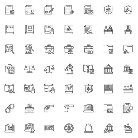 Law and justice line icons set. Judgement linear style symbols collection outline signs pack. vector graphics. Set includes icons as courthouse, legal documents, lawyer attorney, jury, judge courtroom
