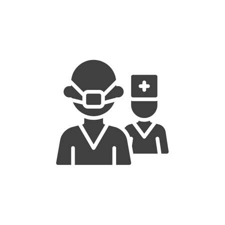 Doctor team characters vector icon. filled flat sign for mobile concept and web design. Medical doctor uniform glyph icon. Healthcare symbol, logo illustration. Vector graphics Ilustrace