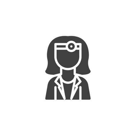 Female doctor with head mirror vector icon. filled flat sign for mobile concept and web design. Woman doctor character glyph icon. Healthcare symbol, logo illustration. Vector graphics Ilustrace