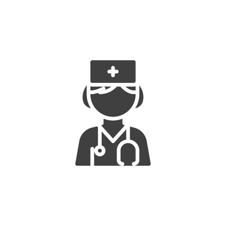 Female doctor with stethoscope vector icon. filled flat sign for mobile concept and web design. Woman doctor character glyph icon. Healthcare symbol, logo illustration. Vector graphics Ilustrace