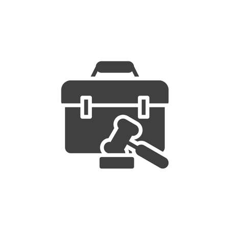 Judge gavel and briefcase vector icon. filled flat sign for mobile concept and web design. Law gavel and attorney briefcase glyph icon. Symbol, logo illustration. Vector graphics Illustration