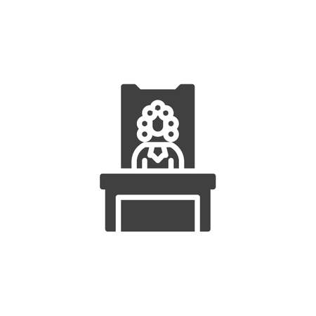 Judge in a courtroom vector icon. filled flat sign for mobile concept and web design. Judge sitting at the table glyph icon. Symbol, logo illustration. Vector graphics 일러스트