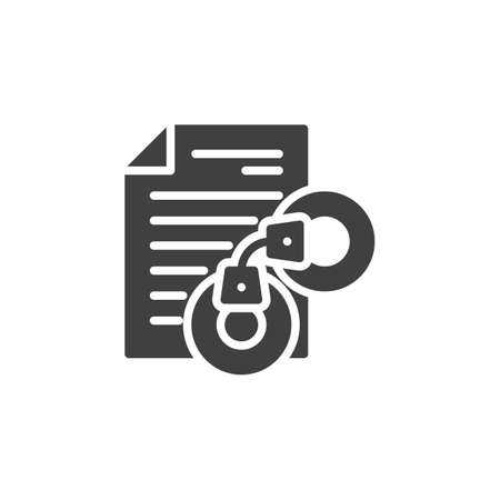 Arrest warrant document vector icon. filled flat sign for mobile concept and web design. Legal document with handcuffs glyph icon. Symbol, logo illustration. Vector graphics