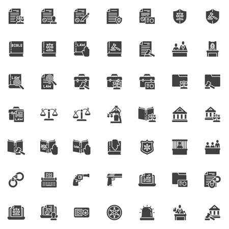 Law and justice vector icons set, modern solid symbol collection filled style pictogram pack. Signs, logo illustration. Set includes icons as courthouse, legal documents, lawyer attorney, jury, judge