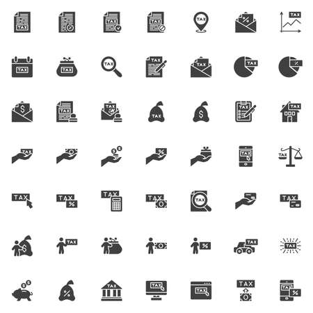 Tax payments vector icons set, modern solid symbol collection, filled style pictogram pack. Signs, logo illustration. Set includes icons as percentage paid, tax declaration, income taxation, money Logo
