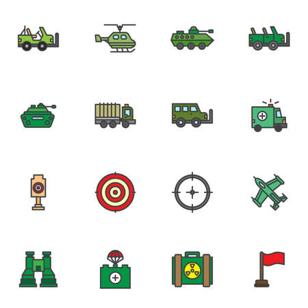 Military transportation filled outline icons set, line vector symbol collection, linear colorful pictogram pack. Signs logo illustration, Set includes icons as army vehicle, suv, helicopter, tank, jet