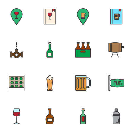 Pub drinks filled outline icons set, line vector symbol collection, linear colorful pictogram pack. Signs, logo illustration, Set includes icons as beverages menu, pint beer, wine, alcoholic, jin, ale