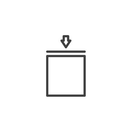 Stacking limit by mass line icon. linear style sign for mobile concept and web design. Cargo logistics sign outline vector icon. Symbol, logo illustration. Vector graphics  イラスト・ベクター素材