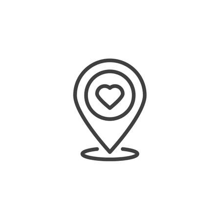 Map pointer with heart line icon. Rendezvous point linear style sign for mobile concept and web design. Love location pin outline vector icon. Symbol, logo illustration. Vector graphics