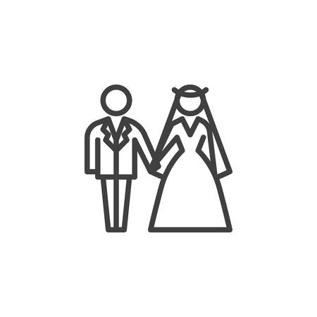 Wedding couple line icon. Newlyweds linear style sign for mobile concept and web design. Bride and groom wedding outline vector icon. Symbol, logo illustration. Vector graphics Vettoriali