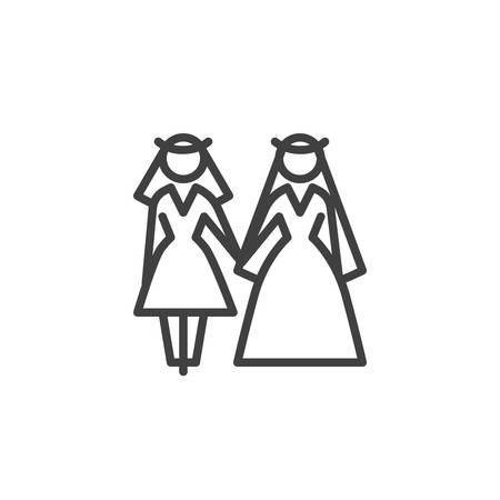 Lesbian couple wedding line icon. Same sex Newlyweds linear style sign for mobile concept and web design. Married lesbian women in wedding dress outline vector icon. Symbol, logo illustration.