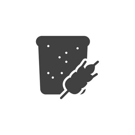 Slice of a wheat bread vector icon. filled flat sign for mobile concept and web design. Toast bread and wheat spike glyph icon. Pastry shop, bakery symbol, logo illustration. Vector graphics
