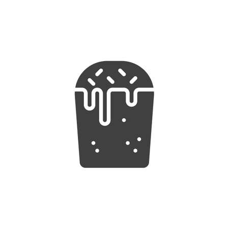 Easter pastries vector icon. Cupcake filled flat sign for mobile concept and web design. Russian Easter cake with icing glyph icon. Symbol, logo illustration. Vector graphics
