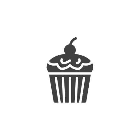 Cupcake with cherry vector icon. filled flat sign for mobile concept and web design. Cupcake glyph icon. Symbol, logo illustration. Vector graphics
