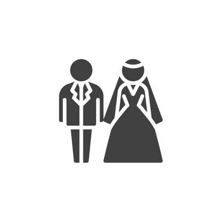 Bride and groom wedding vector icon. Newlyweds filled flat sign for mobile concept and web design. Wedding couple glyph icon. Symbol, logo illustration. Vector graphics