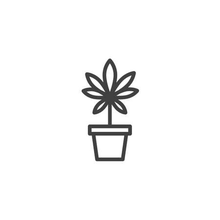 Marijuana plant line icon. linear style sign for mobile concept and web design. Cannabis flower pot outline vector icon. Medical drug symbol, logo illustration. Vector graphics