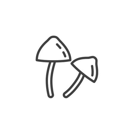 Psilocybin Mushrooms line icon. linear style sign for mobile concept and web design. Magic Mushrooms outline vector icon. Symbol, logo illustration. Vector graphics