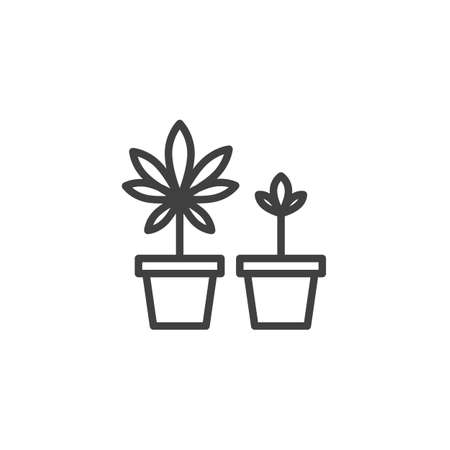 Cannabis plant in a pot line icon. linear style sign for mobile concept and web design. Growing marijuana plant outline vector icon. Symbol, logo illustration. Vector graphics