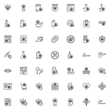 Cannabis store line icons set. Marijuana shop linear style symbols collection, outline signs pack. vector graphics. Set includes icons as marijuana leaf, hemp oil, ecstasy drugs, cocaine powder, weed