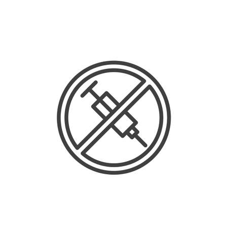 No injection ban line icon. Stop syringe prohibited linear style sign for mobile concept and web design. No drugs allowed outline vector icon. Symbol, logo illustration. Vector graphics