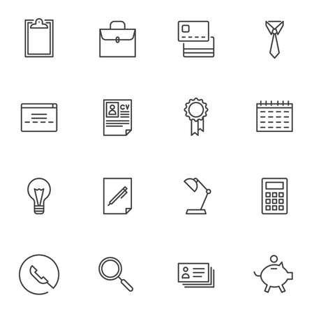 Business line icons set. linear style symbols collection, outline signs pack. vector graphics. Set includes icons as briefcase, CV resume, calendar, calculator, piggy bank, business card, award medal