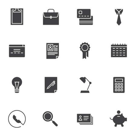 Business vector icons set, modern solid symbol collection, filled style pictogram pack. Signs, logo illustration. Set includes icons as briefcase, CV resume document, calendar, calculator, piggy bank  イラスト・ベクター素材