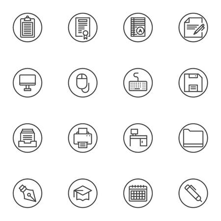 Office paperwork line icons set. linear style symbols collection, outline signs pack. vector graphics. Set includes icons as document folder, paper clipboard, desktop computer, workplace, printer, pen