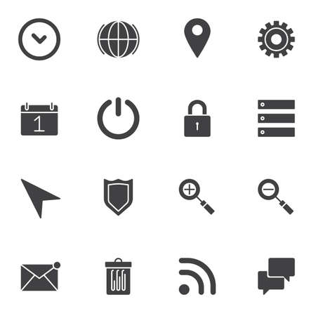 UI, Web essentials vector icons set, modern solid symbol collection, filled style pictogram pack. Signs, logo illustration. Set includes icons as settings configuration, power button, data storage Logo