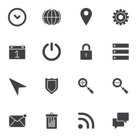 UI, Web-Essentials-Vektorsymbole, moderne solide Symbolsammlung, gefülltes Piktogrammpaket. Zeichen, Logoillustration. Das Set enthält Symbole wie Einstellungskonfiguration, Netzschalter, Datenspeicherung Logo