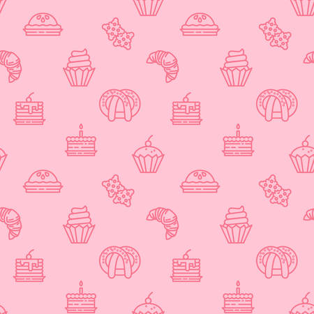 Bakery icons pattern background. Sweets, candy seamless pattern. Symbol, logo illustration. Vector graphics