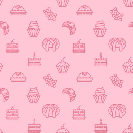 Fondo de patrón de iconos de panadería. Dulces, dulces de patrones sin fisuras. Símbolo, ilustración de logotipo. Gráficos vectoriales Logos