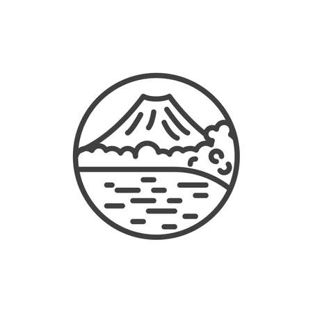 Volcano mountain landscape line icon. linear style sign for mobile concept and web design. Island with mountain and lake outline vector icon. Symbol, logo illustration. Vector graphics Illustration