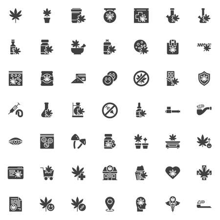 Cannabis store vector icons set, modern solid symbol collection, Marijuana shop filled style pictogram pack. Signs, logo illustration. Set includes icons as marijuana leaf, hemp oil, cocaine powder
