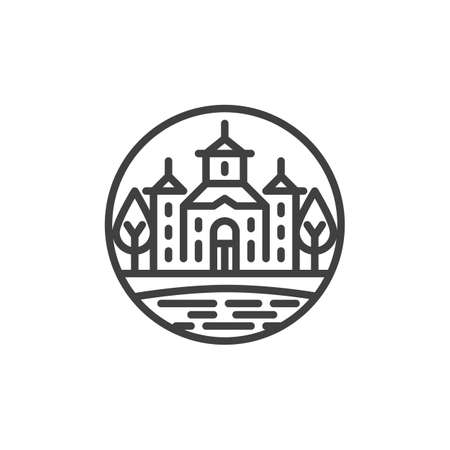 Rural church landscape line icon. linear style sign for mobile concept and web design. Church building with pond and trees outline vector icon. Symbol, logo illustration. Vector graphics
