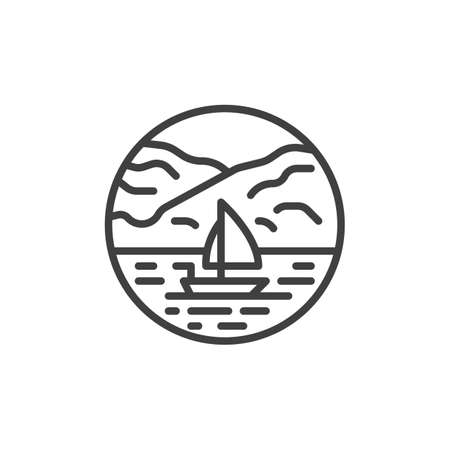 Seascape with mountains and sailboat line icon. linear style sign for mobile concept and web design. Yacht sailing in sea outline vector icon. Symbol, logo illustration. Vector graphics Stock Illustratie