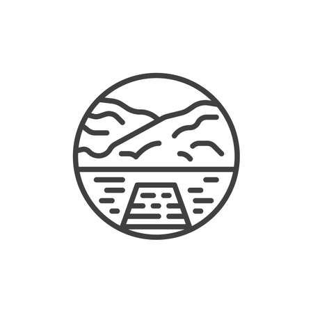 Sea with mountains and pier line icon. linear style sign for mobile concept and web design. Wood Pier with lake water and mountain outline vector icon. Symbol, logo illustration. Vector graphics Illusztráció