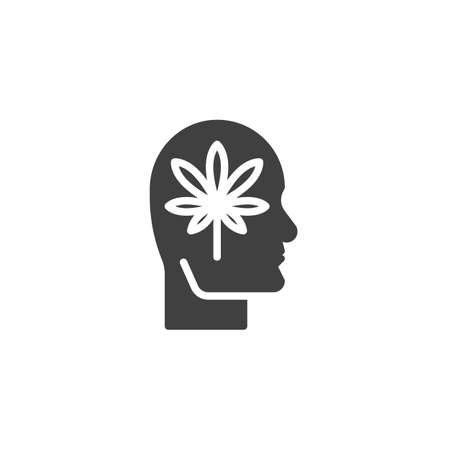 Marijuana head vector icon. filled flat sign for mobile concept and web design. Human head with cannabis leaf glyph icon. Symbol, logo illustration. Vector graphics Vectores