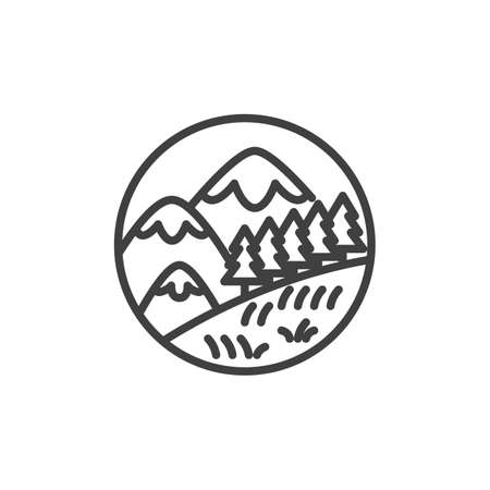 Snowy mountains and trees line icon. linear style sign for mobile concept and web design. Mountain landscape with forest trees outline vector icon. Symbol, logo illustration. Vector graphics