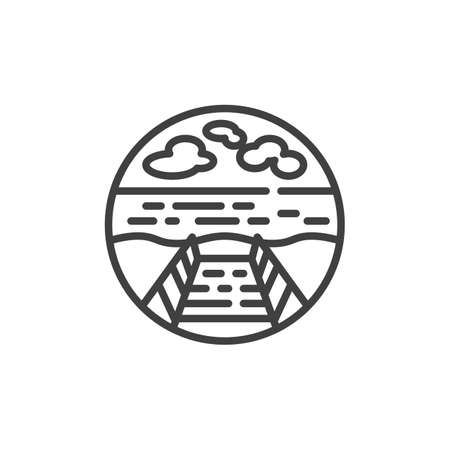 Wooden pier and the lake line icon. linear style sign for mobile concept and web design. Pier at the seaside outline vector icon. Symbol, logo illustration. Vector graphics Banque d'images - 138464626