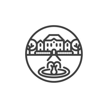 House with a fountain line icon. linear style sign for mobile concept and web design. Luxury villa, mansion with trees and fountain outline vector icon. Symbol, logo illustration. Vector graphics